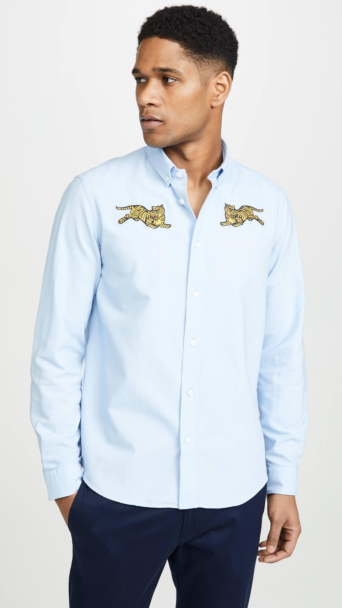 Xl Crest Camisa Jumping Informal Claro Kenzo Azul De Tiger Vestir vPFEwxz
