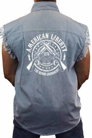 Hombres Liberty 2ª Para De Mangas American Azul Camiseta Tamaño Mediano Sin Enmienda Trendz Mezclilla Shore q4H0P8