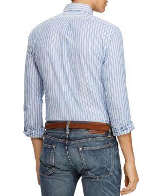 Stretch Lauren Azul Polo Ralph Blanco Xl Larga Tejida Manga Camisa De Slim Oxford Corte Multi Con PSqw57qx