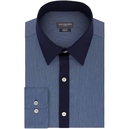 Fit Herren Blau Slim Heusen Stretchhemd Kragen 33 15 5 Größe 32 Van Flex rZntr6