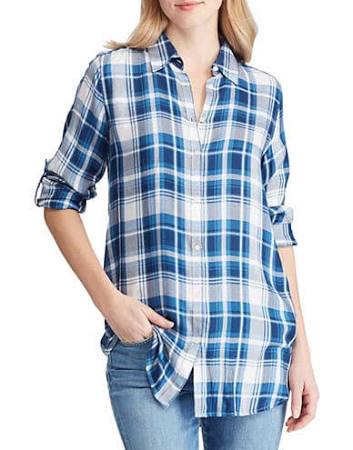 Ralph Twill Plaid Womens Mittel Knopfleiste Blau Hemd Größe Lauren Mit dfwR7dq