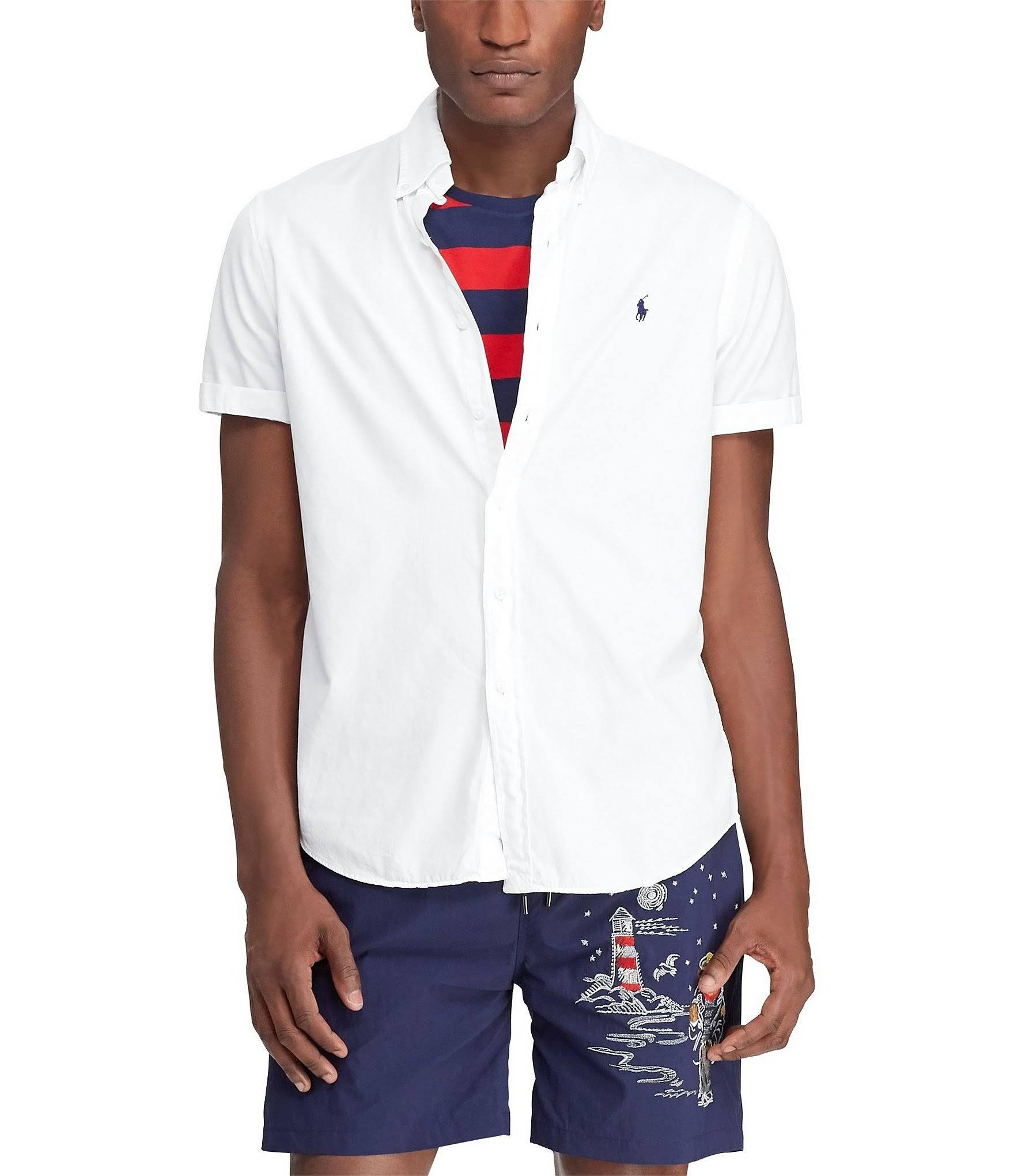 Clásico Lauren L Camisa Talla Ralph En Sarga Blanco Corte De XRw7T