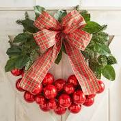 "24"" Red Ball Ornament & Faux Leaves Wreath Brown"
