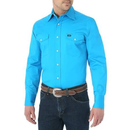 Cotton Blend Comfort Wrangler Camisa Hombre Blue L Advance S Work EqSZ5