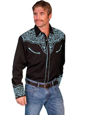 Hombre De Con Rollo Turquesa Bordado Scully Regular Camisa En Tribal 54qBF