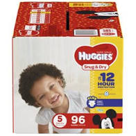 Huggies Snug & Dry Diapers, Size 5, 96 Count, Multi-Color
