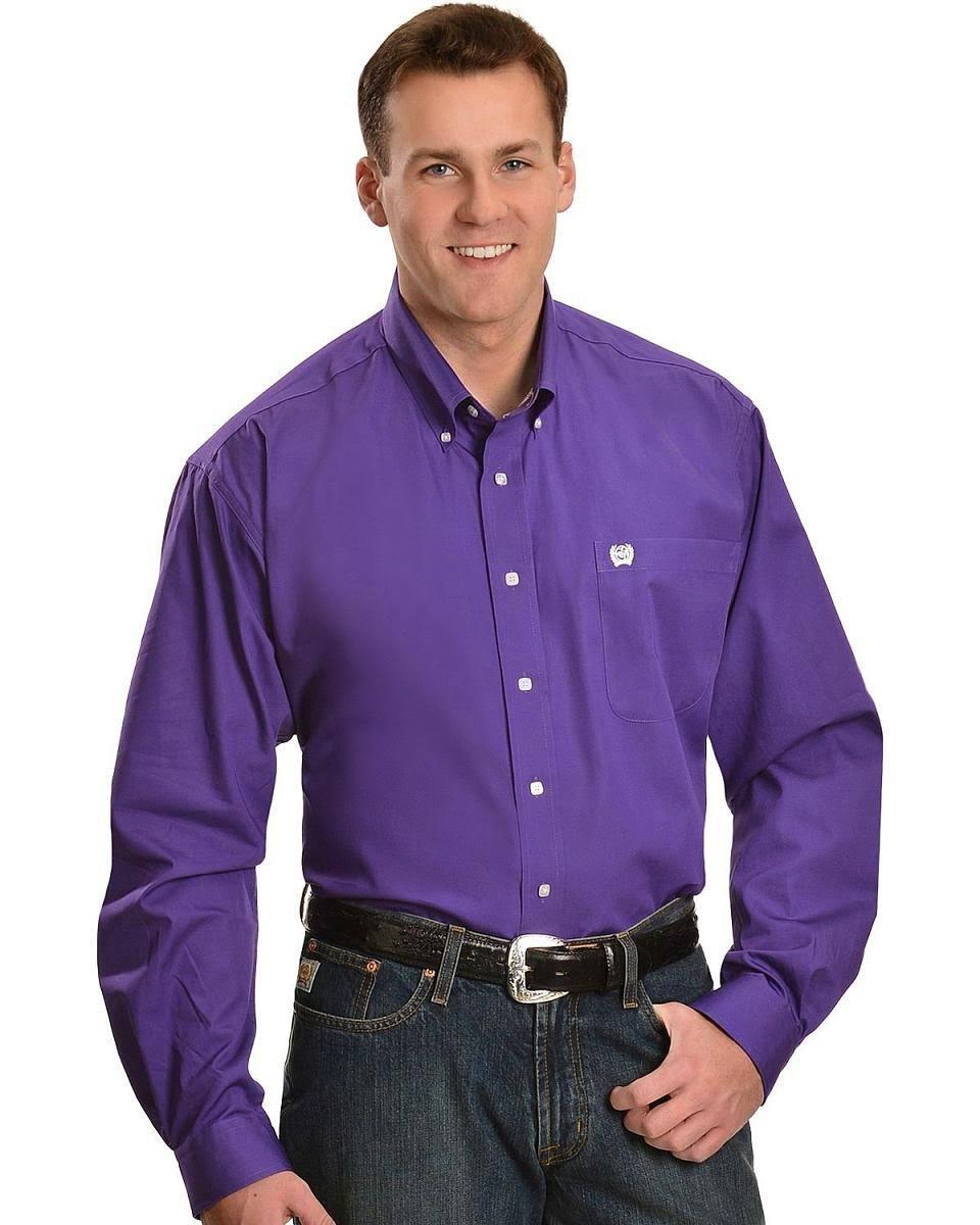 Liso Camisa Hombres Y Color Sólido Morado Para Botones Con Vaquera En rZqrXH