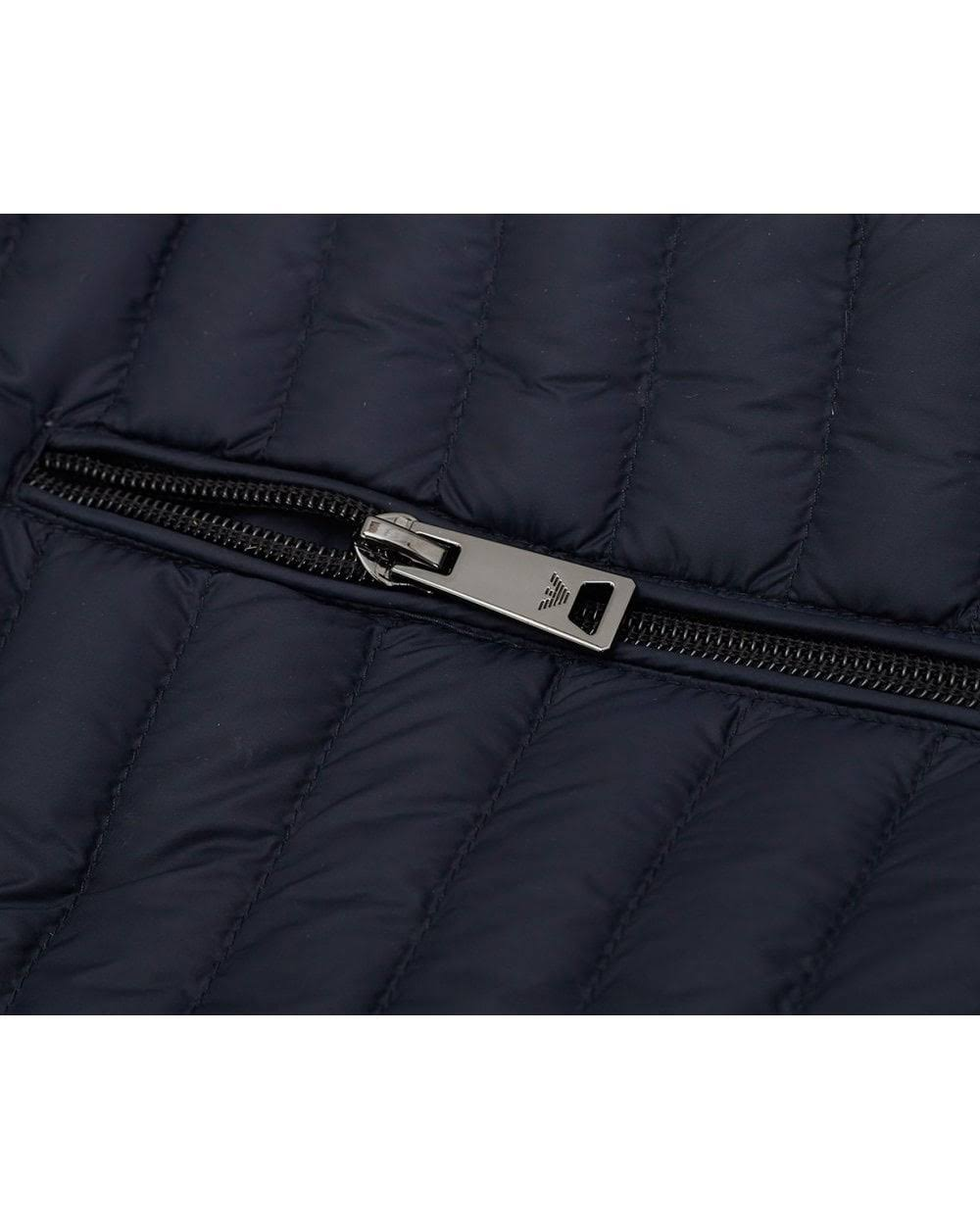 Armani Zip Marino Through Color Lightweight Down Jacket Azul Tamaño Grande HwTOgq