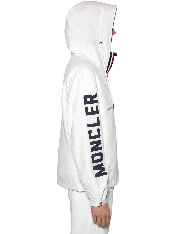 Moncler Tech Logo Parka Para Hombre Blanco 3 twill Tamaño rtrvqn