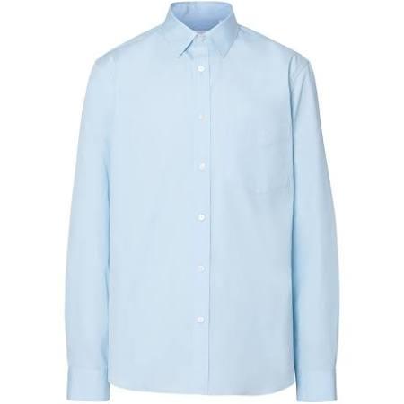 popeline Blau Monogram shirt Stretch baumwoll Motiv Burberry IqwYq