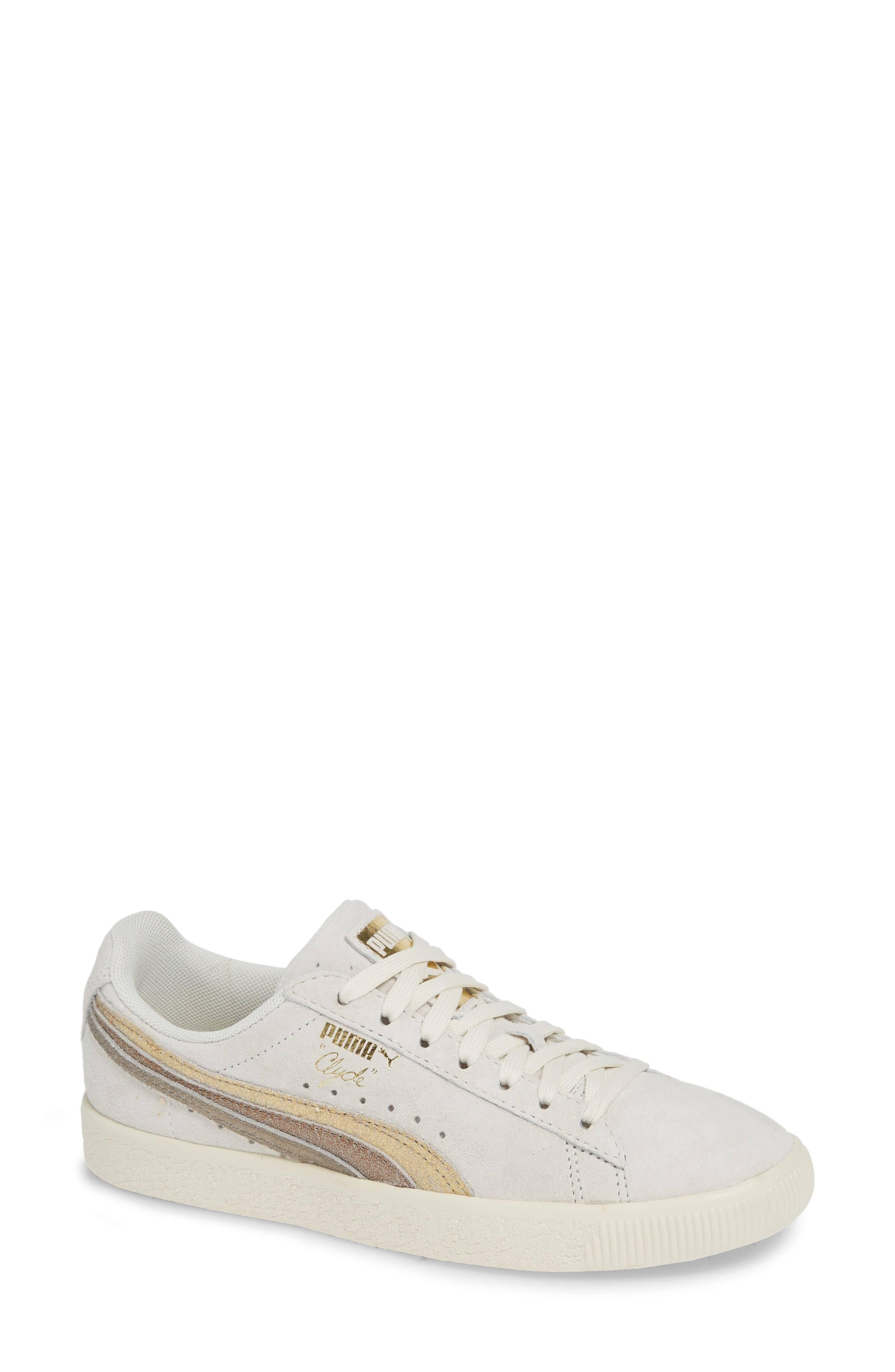 Clyde Sneakers 9 Weiß Metallic Leder Puma Größe Womens 5 IwASqP5