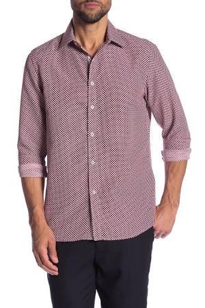 Burdeos Dots algodón Rosso Vestir Corte Big Milano Rojo Hombre Moderno m Camisa De 7ZTqzz