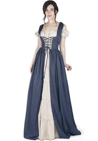 Set Medieval Sobre Y Camisa Boho Traje Irlandés Vestido H4xqd