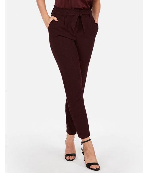 À La Pour Haute Taille Pantalon 18 Femmes Papier Cheville Rouge En dqw5znRAIz