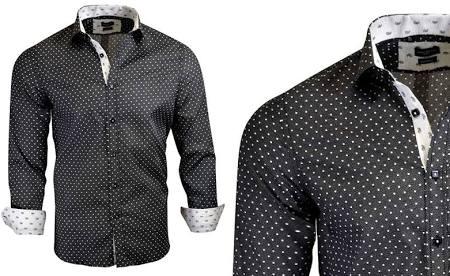 De Camisas Hombres Negro S Rosso Moderno Estampadas Para Corte Milano a6w6d