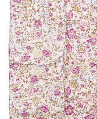 Herren Blumenmuster Antikes Hemd fit Mit Slim Bar Rosa Iii C1xPFP