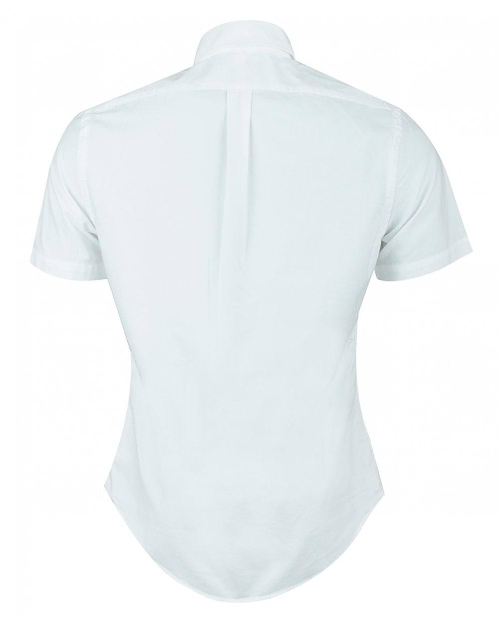Ralph Lauren Slim Blanca De Corta Fit Manga Camisa F7rPxd7