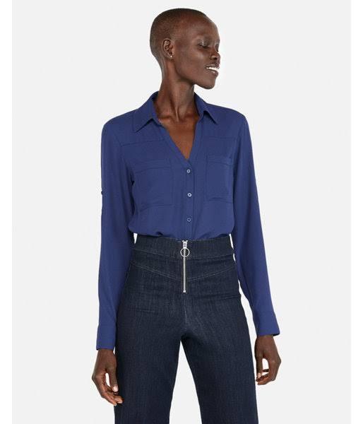 Portofino Fit Slim Women's M Blue Shirt Convertible Sleeve Bt6wz6Rx