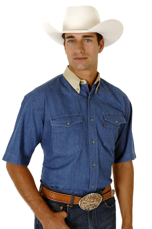 Western Denim Roper Hombre 002 Solid Blue 06 Bu 0612 0163 Shirt S Para FnqqdWpw1
