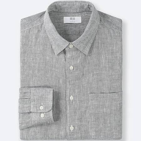 Hombre Larga Lino Manga Premium Camisa Gris Uniqlo De Para M Gris BSqEnBYa
