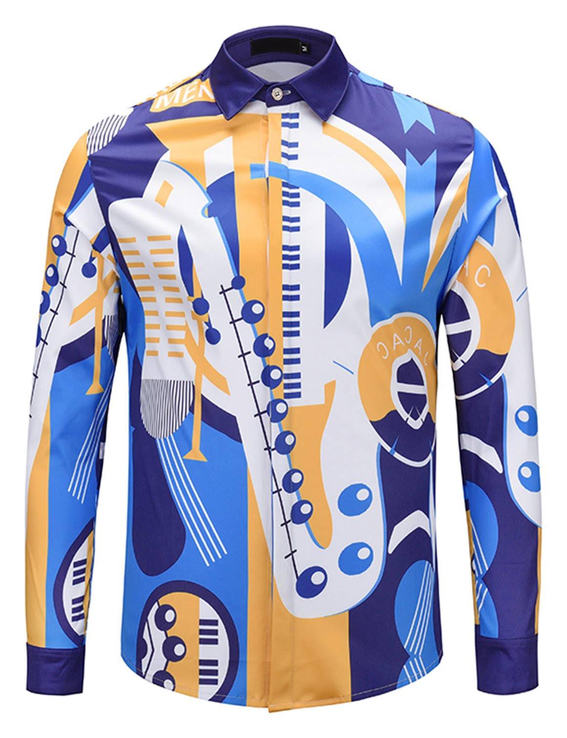 Pizoff Design Luxus Dress Langarm Print Shirt Herren FZ1rwF