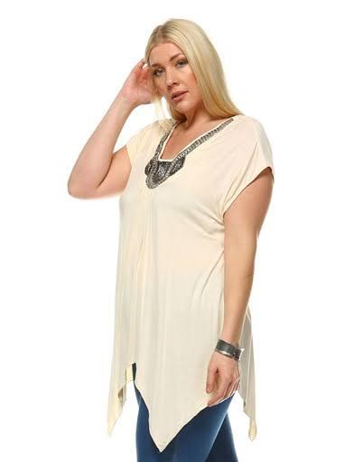Adornada Túnica Top Para Plus 3x Mujer White Beige Size Grace FwUqU