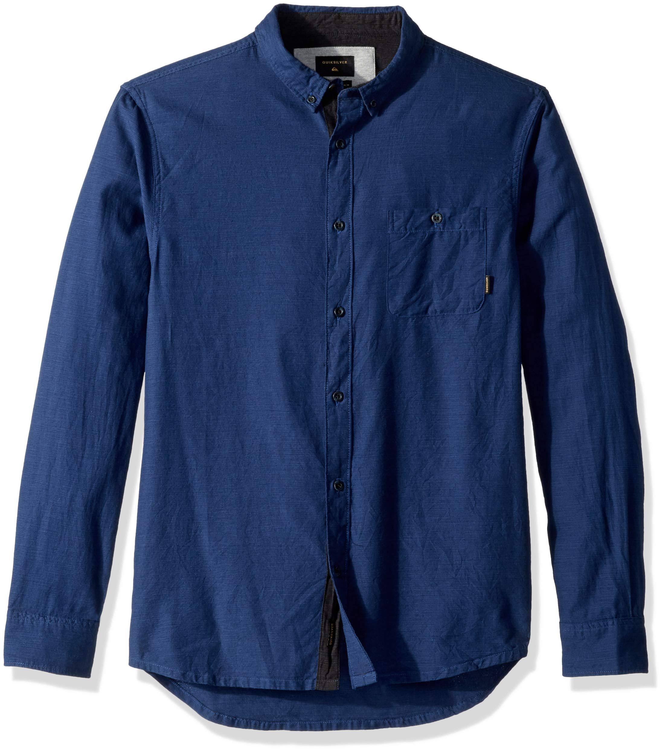 Herren Langarmhemd Blau Quiksilver S Waterfalls Größe zUEnCwFq