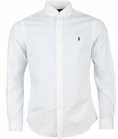 Slim De Lauren Corta Camisa Blanca Fit Manga Ralph RHAgExqwg