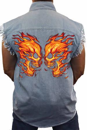 Face Mangas Sin Azul Camiseta Hombre Skull De Biker Tamaño Mezclilla Shore Flame Grande Trendz Para Off Avqqw5d