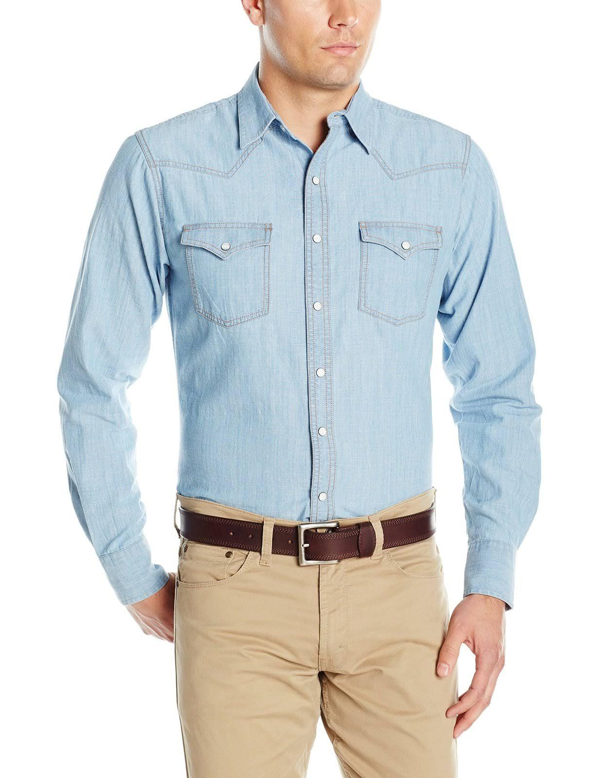 Retro Hombres A De Mvr277d Cuadros Regular Manga Para Wrangler Larga Camisa Azul pSxqaxwU