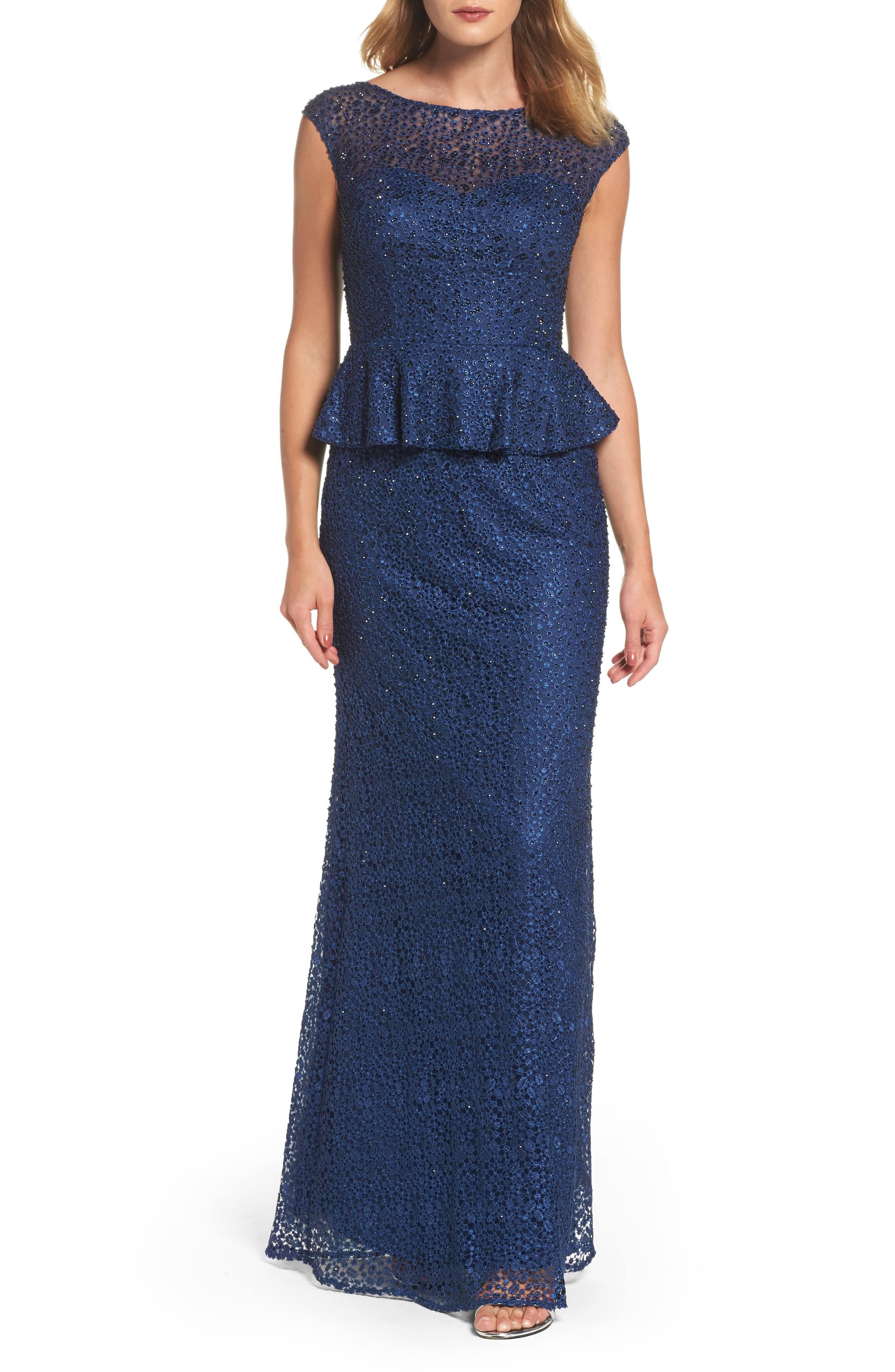 Verziert Blau 16 Femme Kleid La Größe Frauen Spitze Schößchen wHE8pxxOq