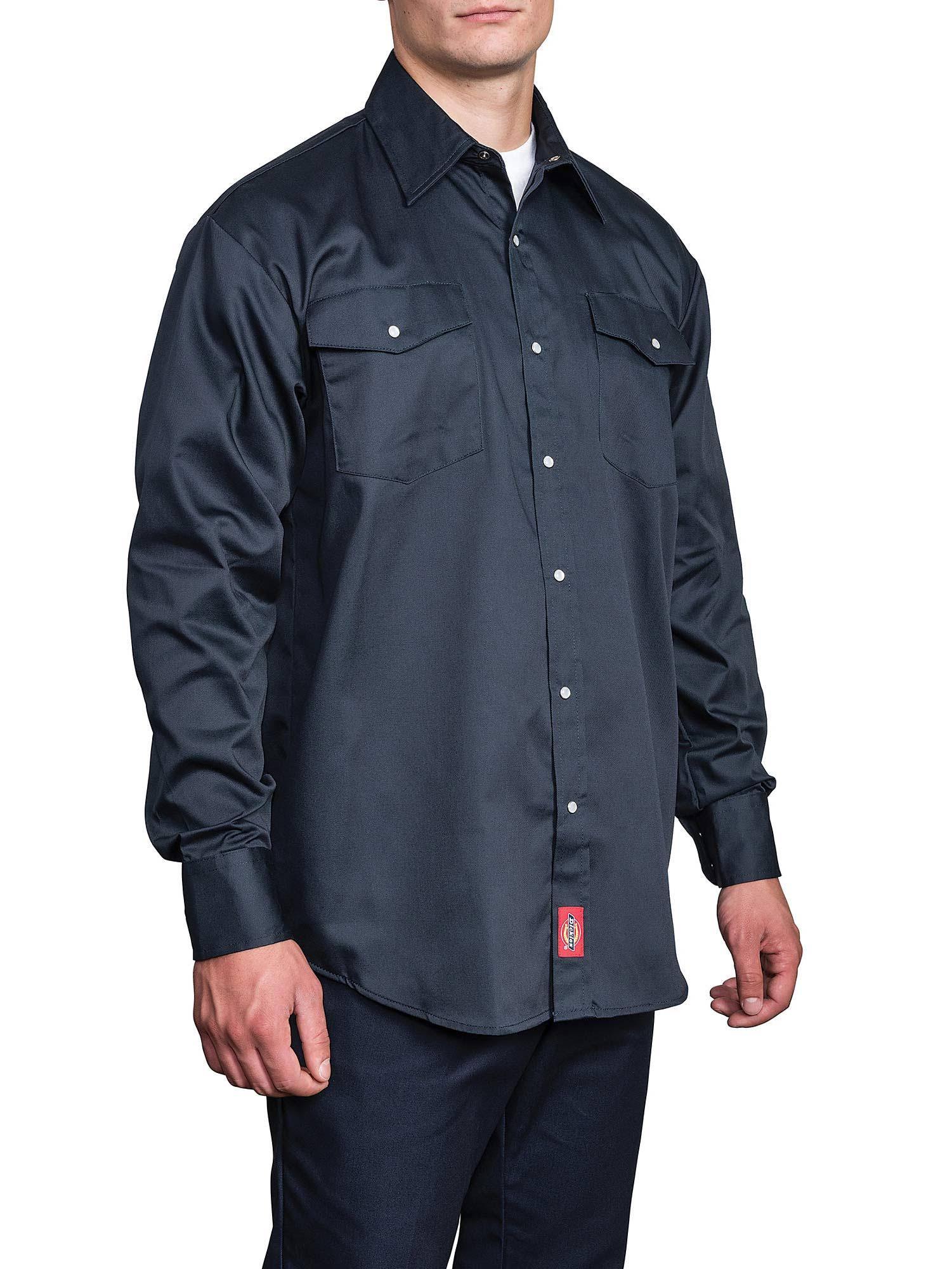 Presión Camisa Cierre Trabajo Con 1221 Pequeño Larga Manga Dickies De Negro A XOrUqw0XT