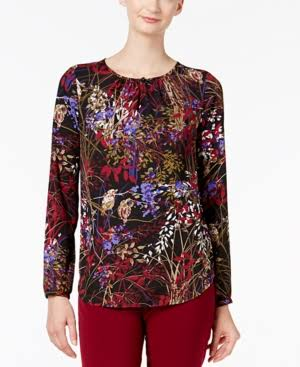 West Nine Bordeaux Crepé Blusa De Multi Estampada 4SAI7a7q