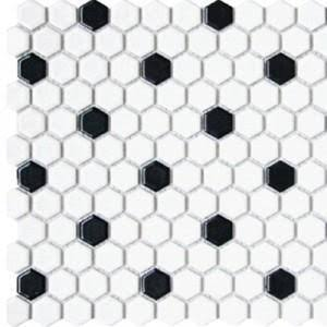 Glazed Porcelain 1 Inch Hexagon | White with Black Pattern 1 Box - 10 sheets/8.4 sf.