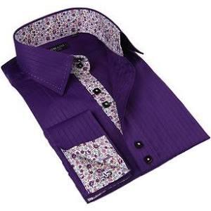 En Vestir Domani Adornos Púrpura Con Blue mediana Camisa Luxe Floral Hombres De Botones Para XqwpF5x