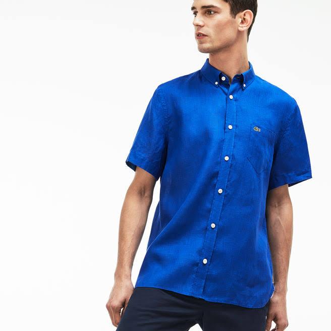 Hombre Lino Fit Regular Lacoste De Camisa Azul Para Ofw8YxPq