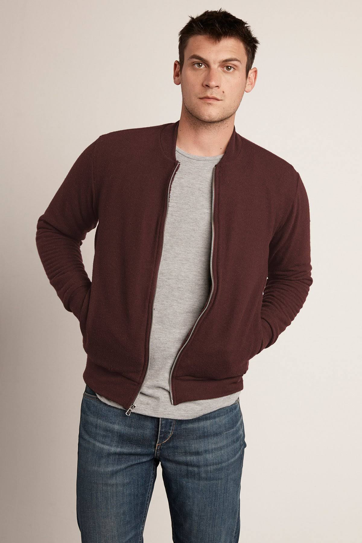 Graham Velvet Cazadora Jersey Cozy Raisin Aviador De l Cabe amp; Spencer By n8wYSfq8