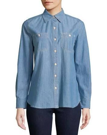Para Tamaño Camisa Botones Manga Grande De Larga Lauren Con Azul Denim Ralph Mujer 88wxSrnq