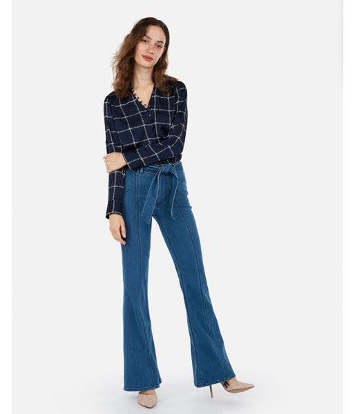 Camisa De Fit Collar Ruffle M Slim Windowpane Azul Mujer Satin Portofino 18q4xnYwT