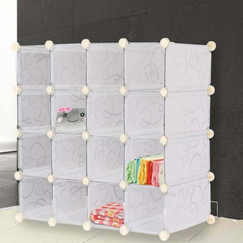16 Pairs Interlocking Cubes Shoe Organizer Storage Rack Display Stand UK Seller