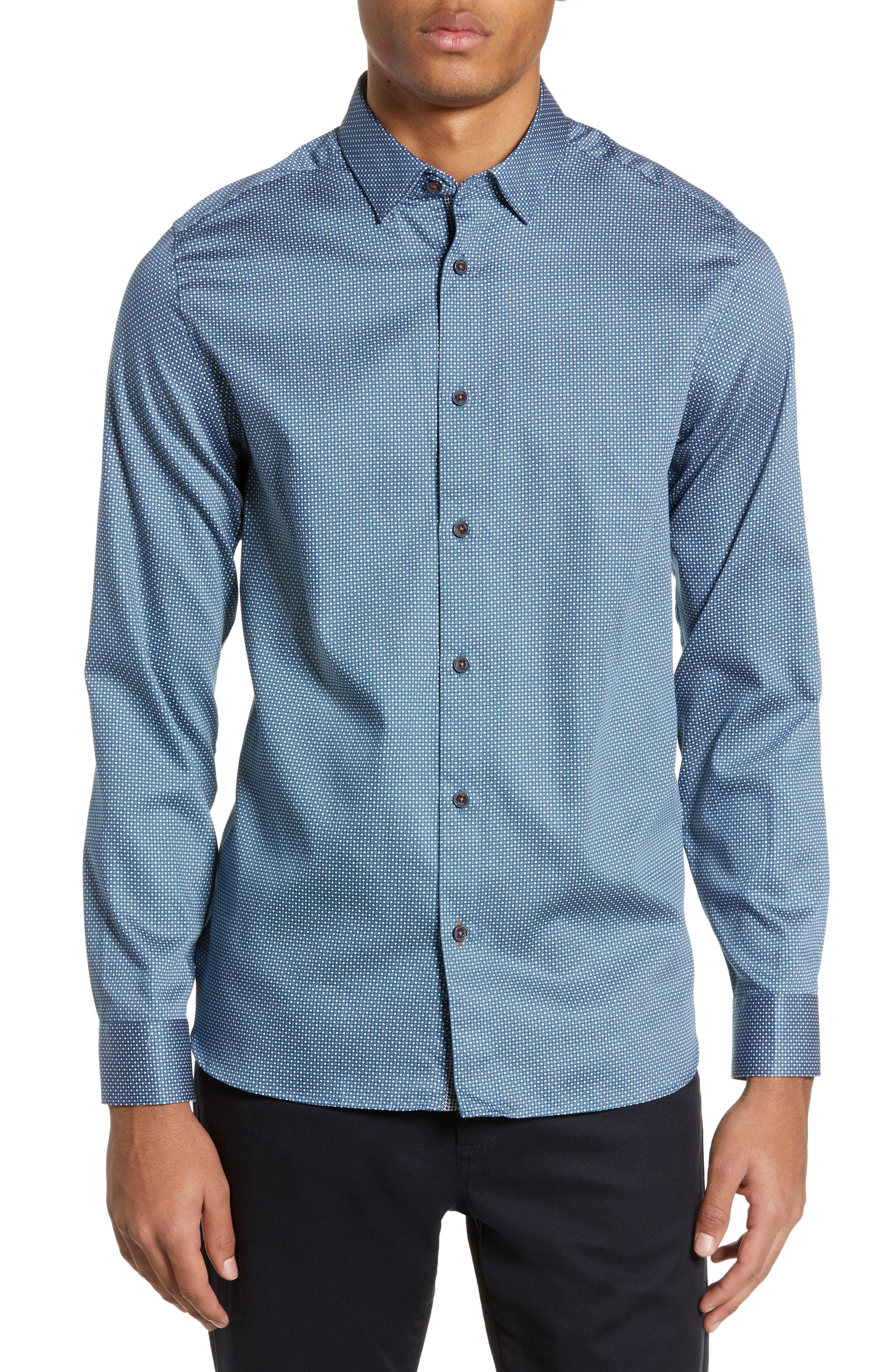 Baker Azul Fit Geo Sport Camiseta Ted Subik Print Slim awBnR66Hq