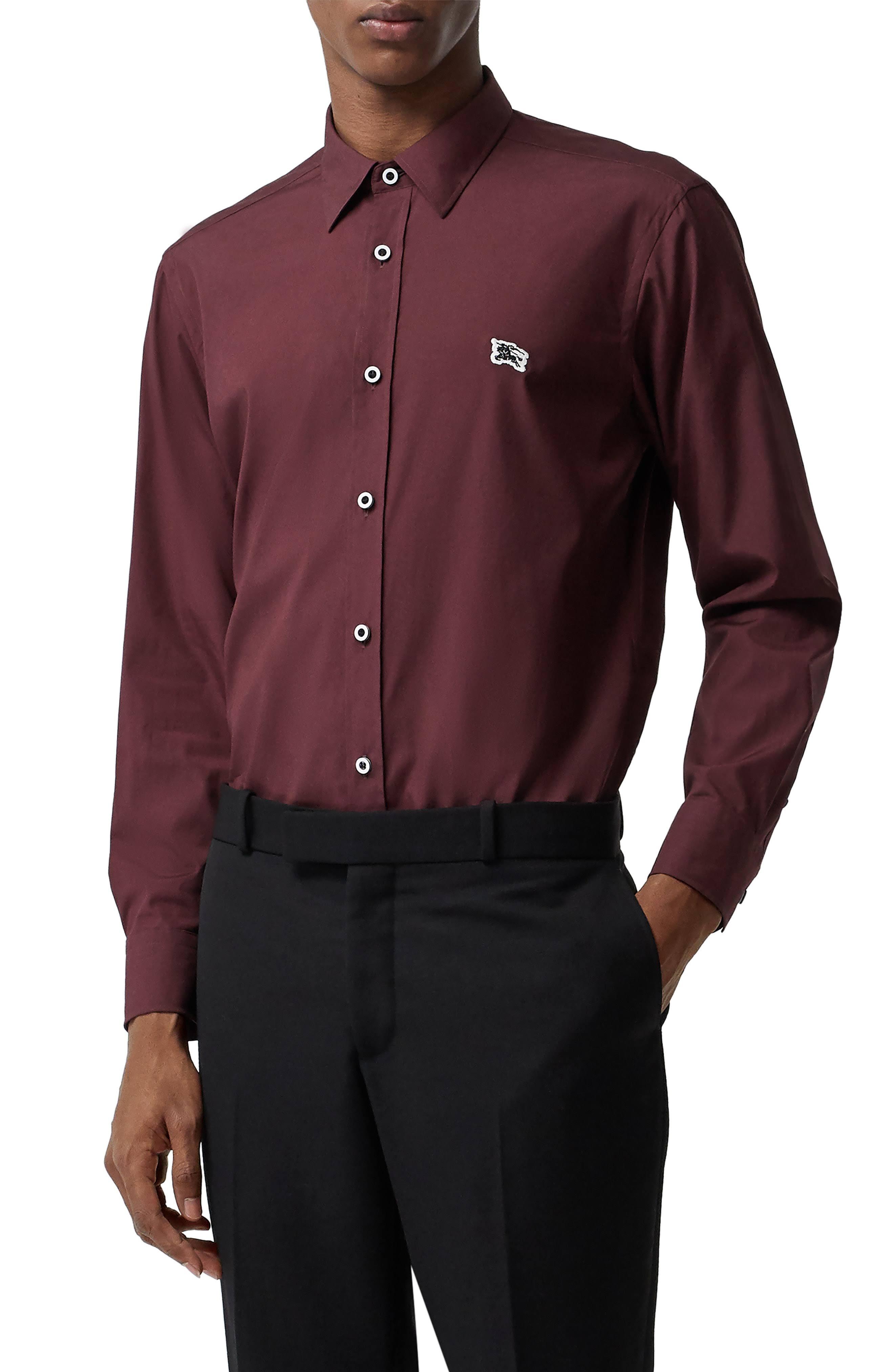 Burberry Rojo Camisa Cuello Hombre L Para Vestir Alto De William qO8gOXRx