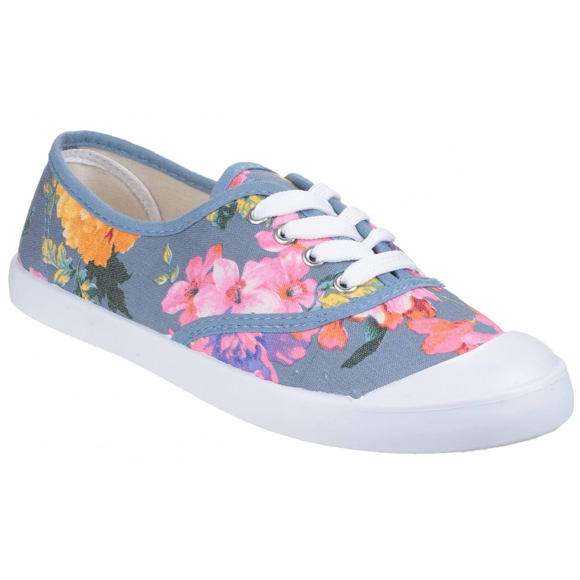 Divaz Ellie Ladies Lace-up Canvas Shoes Lavender UK 4