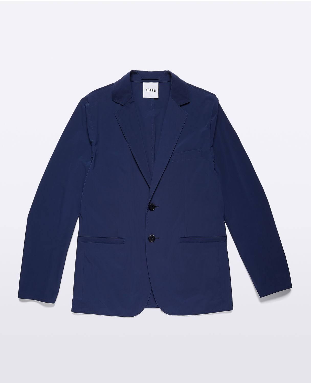 Para Cáscara Marino Desestructurado Blazer Aspesi Elástica Azul Corte Slim Hombres De qE8zT