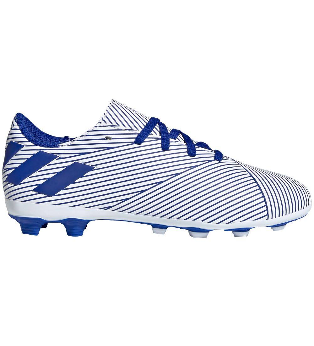Adidas Nemeziz 19.4 FxG Football Boots - Youth - White/Blue/Black - UK 1