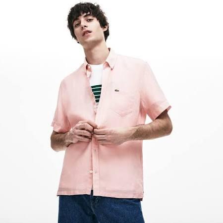 Leinen Fit Auf Kurzarmhemd Pink Lacoste Unicolor Leinwand 40 Regular 1zFwS