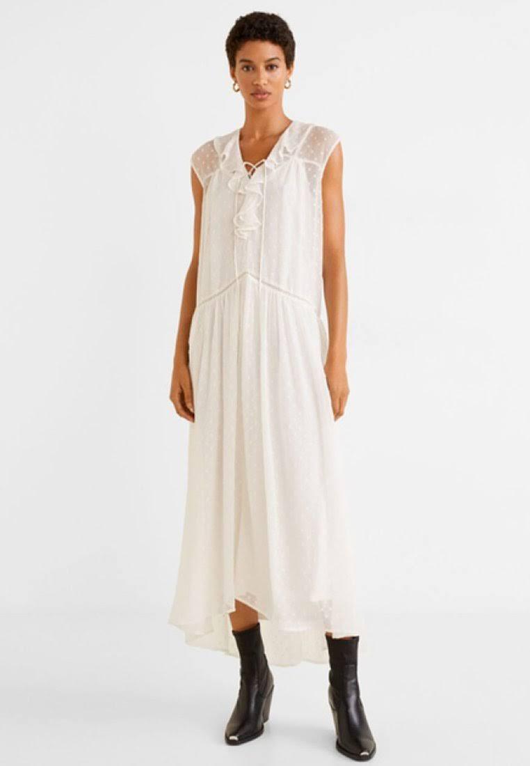 MANGO - Sukienka plumeti złamana biel - L - Kobieta