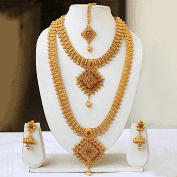 South Indian Traditional Gold Pendant Haram Semi Baridal Necklace Set Maroon
