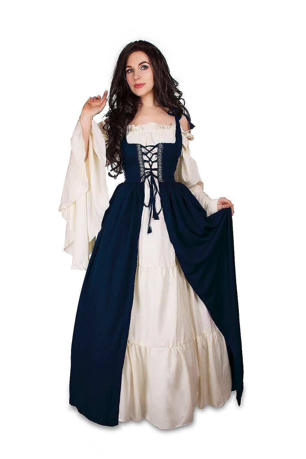 Set amp; Kostüm Renaissance Dress Cream Mittelalterliches Mythic Chemise Über Irisches vwztY