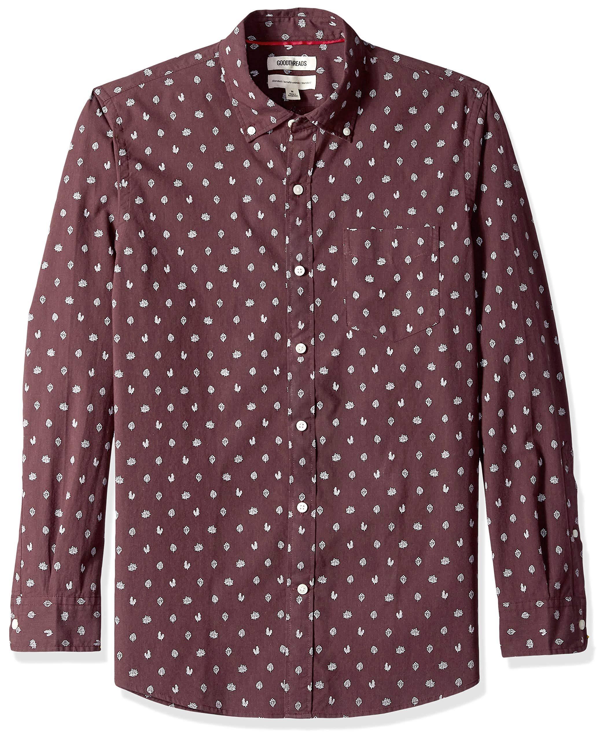 Camisa Con Larga Manga De Hombres Estándar Estampado Goodthreads Para Popelina wBIw1